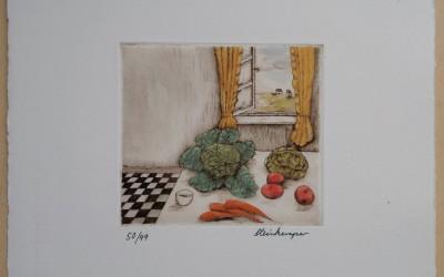 003-Grafik-Fliesenküche - Kaltnadelradierung