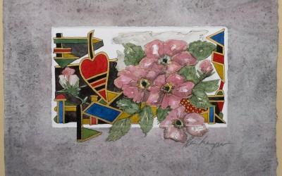 008-Phantasie-Blumen Wildrosen - Aquarell