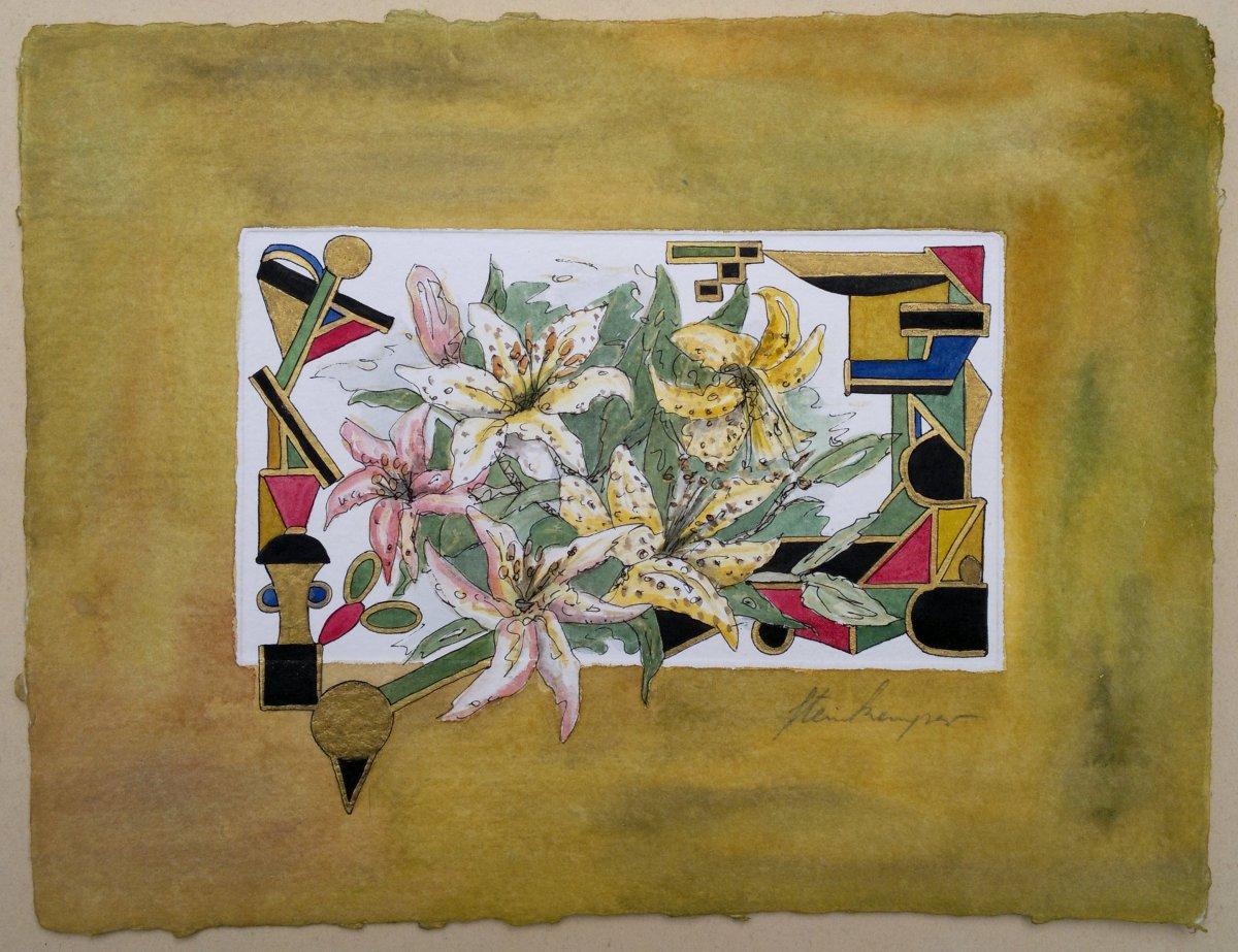 009-Phantasie-Blumen - Aquarell