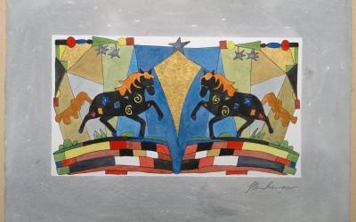 017-Phantasie-2 Pferde - Aquarell