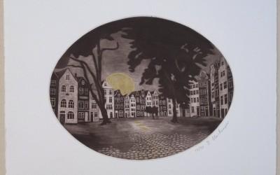024-Mezzotinto - Traumstättchen - Beduinenhof in Amsterdam - Coloriert Papier Chamua