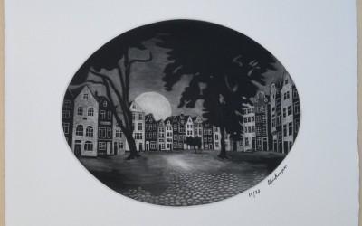 025-Mezzotinto - Traumstättchen - Beduinenhof in Amsterdam - Schwarz Weiß