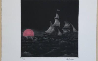 028-Mezzotinto -Selgelschiff - Coloriert rot 2