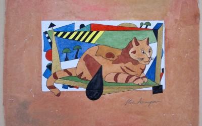030-Braune Katze - Aquarell