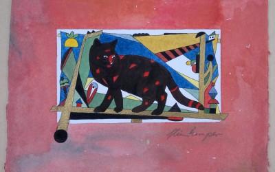 031-Schwarze Katze - Aquarell
