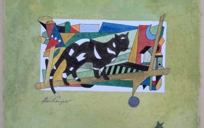 032-Schwarze Katze mit weißen Flecken - Aquarell