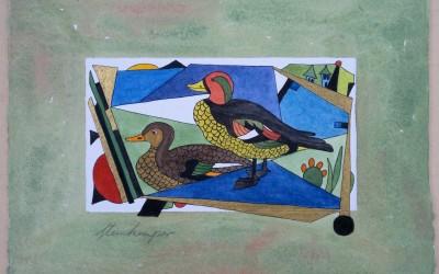 033-Zwei Enten - Aquarell