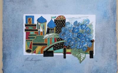 037-Blauer Blumenstrauss - Aquarell