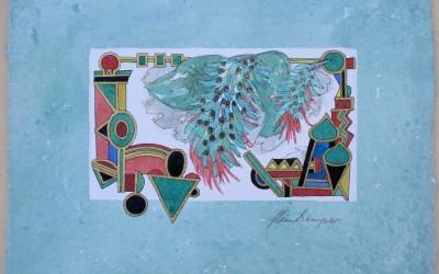 040-Phantasie-Blumen - Aquarell