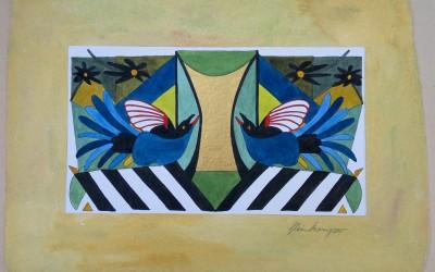 041-Phantasie zwei Vögel - Aquarell