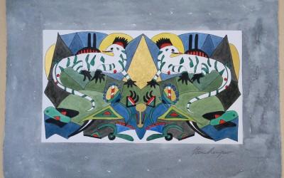 043-Phantasie zwei Drachen - Aquarell