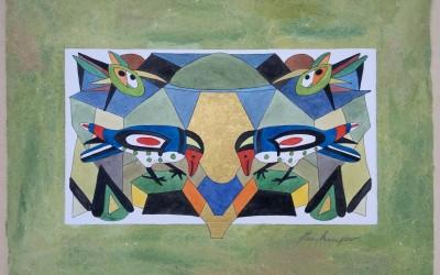 044-Phantasie zwei Vögel - Aquarell