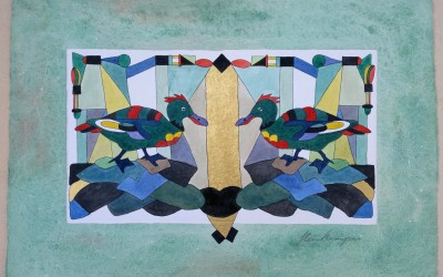045-Phantasie zwei Enten - Aquarell