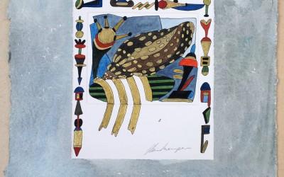 048-Phantasie Schnecke.Autokorrektur - Aquarell