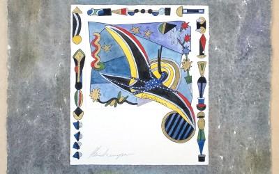 050-Phantasie Vogel - Aquarell