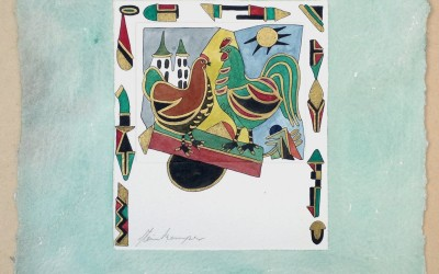 054-Phantasie Huhn und Hahn - Aquarell