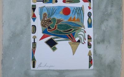 055-Phantasie Zwei Enten - Aquarell