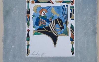 056-Phantasie Clown auf Pferd - Aquarell