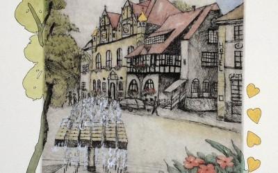 Bergisch Gladbach Kaltnadelradierung Bunt