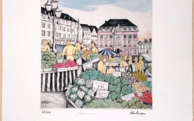 Bonn Marktplatz - Kaltnadelradierung
