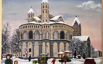 Köln St. Aposteln im Winter - Öl auf Leinwand