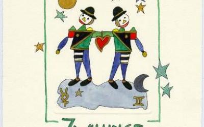 Sternzeichen - Aquarell - Zwilling