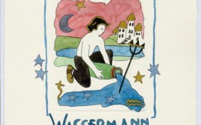Sternzeichen - Aquarell -  Waasermann