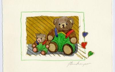 B02 Teddy Vater & Sohn 2- Aquarell