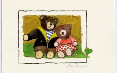 B05 Teddy Paar 2 - Aquarell