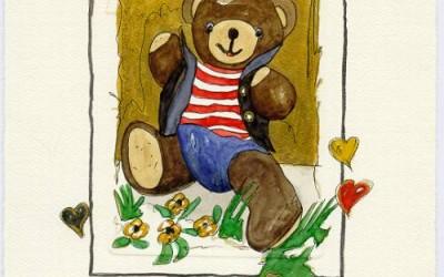 B06 Teddy Rot/weiß, quer gestreift - Aquarell