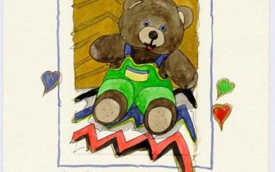 B 07 Teddy Grüne Latzhose - Aquarell