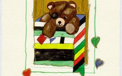 B 08 Teddy Augenklappe - Aquarell