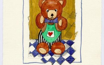 B 09 Teddy Blaue Fliege - Aquarell