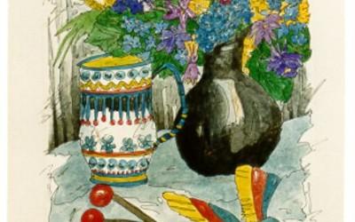 BL123  Vase schwarz, Becher - Aquarell