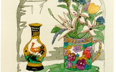 BL069 Blumen im Becher, Vase - Aquarell