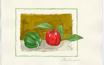 G04 Paprika grün/rot - Aquarell