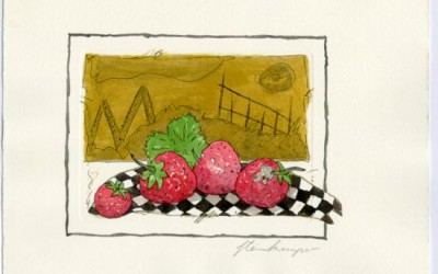 G06 Erdbeeren - Aquarell