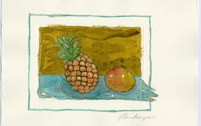 G08 Ananas, Granatapfel - Aquarell
