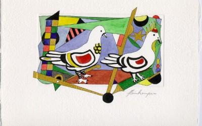 2 weiße Tauben - Aquarell