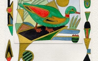 Grüne Ente - Aquarell