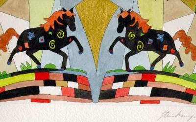 2 Pferde - Aquarell